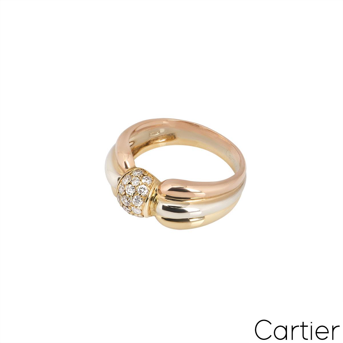 Cartier Tri-Colour Gold Diamond Set Trinity Dress Ring